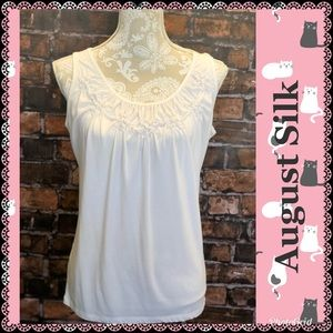 Off White Dressy Tank Top With Gathered Neckline